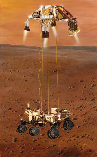 Mars Science Laboratory, Curiosity, with Sky Crane