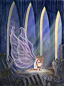 An Angel Kneels on 9/11 Canvas Original