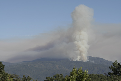 View looking into the starting of the Basin Complex Fire